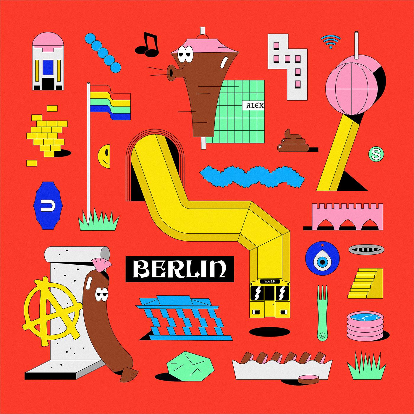 ILLUSTRATION ,berlin,WABB,wearebuerobuero,stefan mückner,Julian Faudt,cover,travelplaylist,Trippin,Cityguide