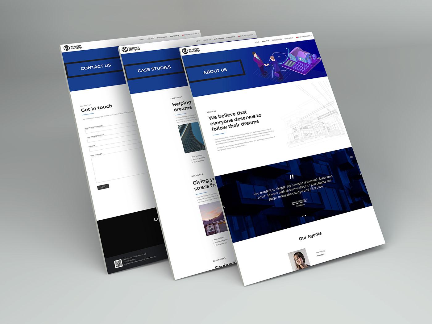 Web design development ILLUSTRATION  animation  blue wordpress Mortgage architecture business