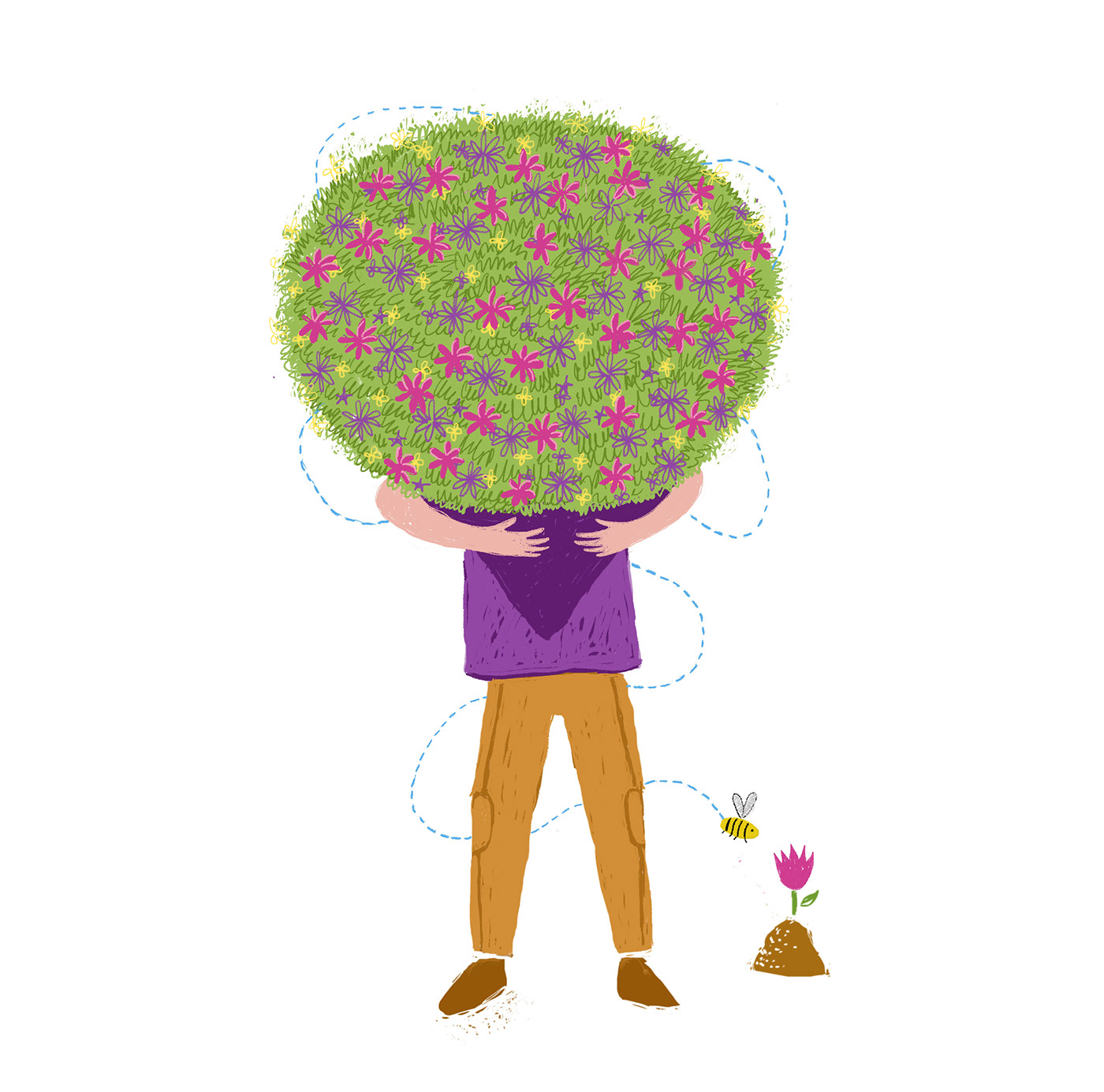 ILLUSTRATION  Jobs florist Flowers nanny digital artwork children bee