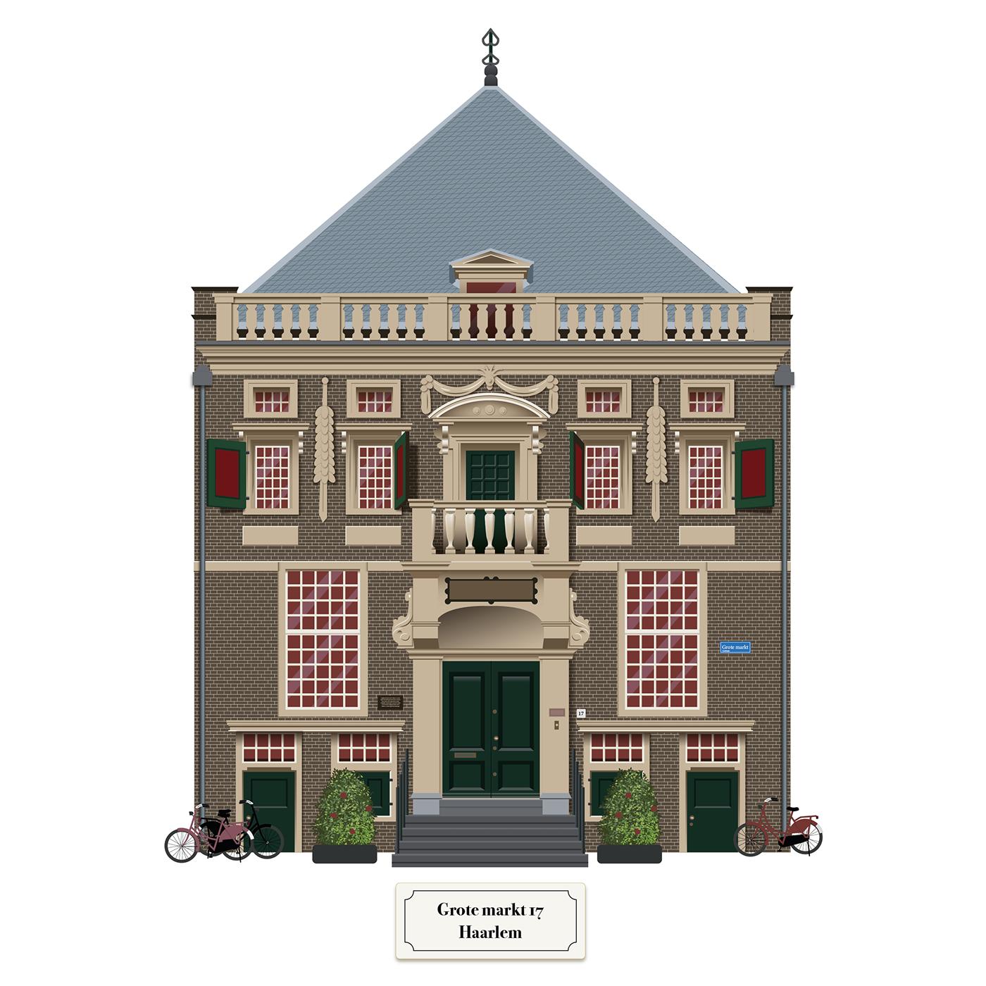 ILLUSTRATION  Haarlem Netherlands building facade monument dutch Nederland