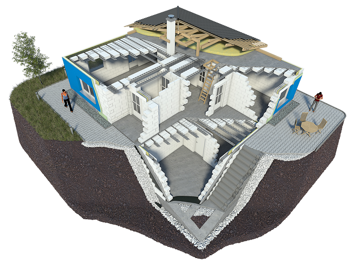 porfix 3D Visualization product visualization building material house section
