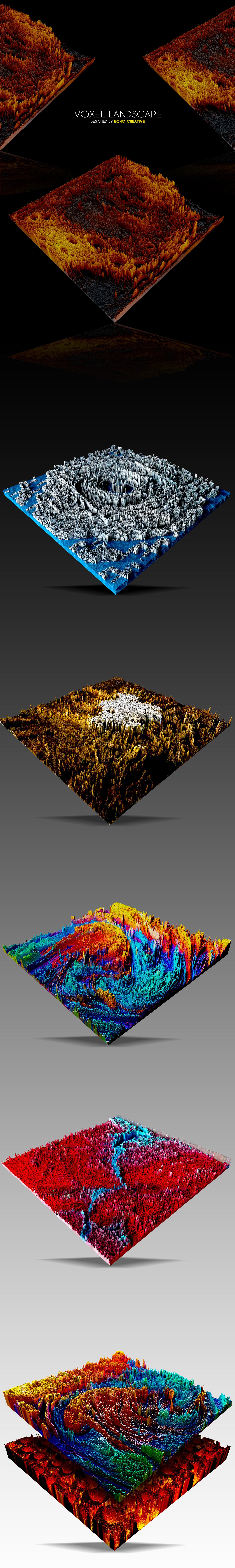 vray cinema 4d voxel Landscape art colour
