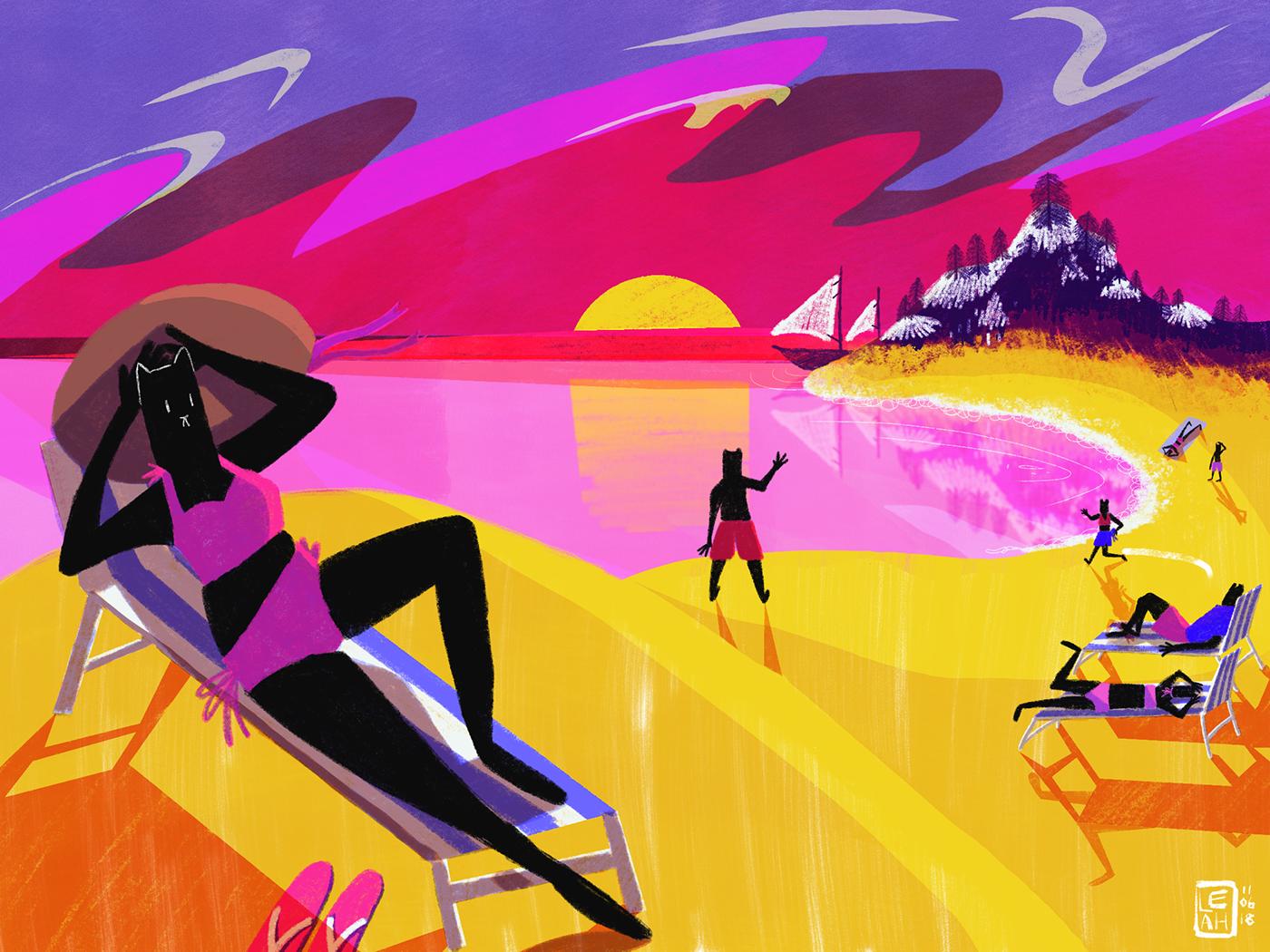 summer cats ILLUSTRATION  digital Procreate illustrated scene characters graphics