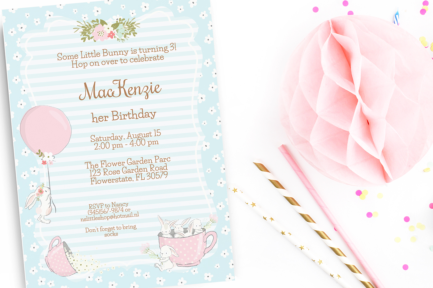 Bunny birthday party invitation, editable, printable on Behance