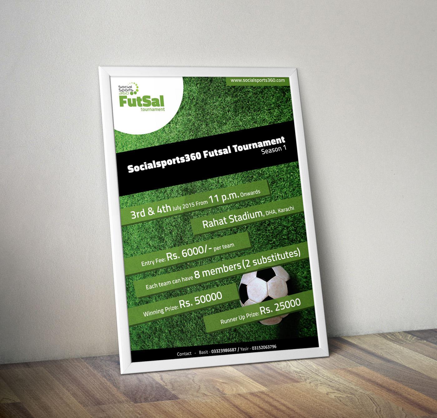 graphic design poster print futsal ball brand sports