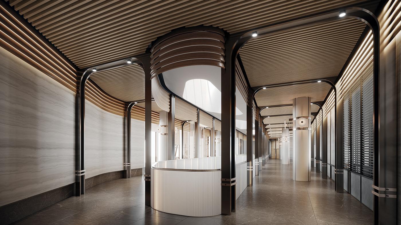 3D 3dsmax CGI hotel Interior interior design  Render restaurant visualization design