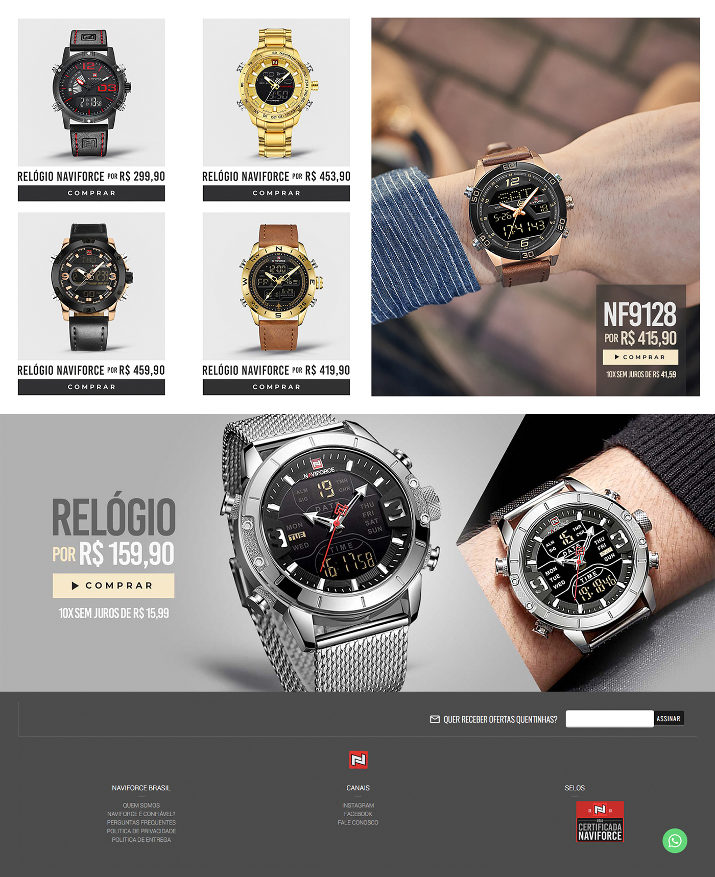 banners design Ecommerce graphic home Home Site Naviforce photoshop Project Watches
