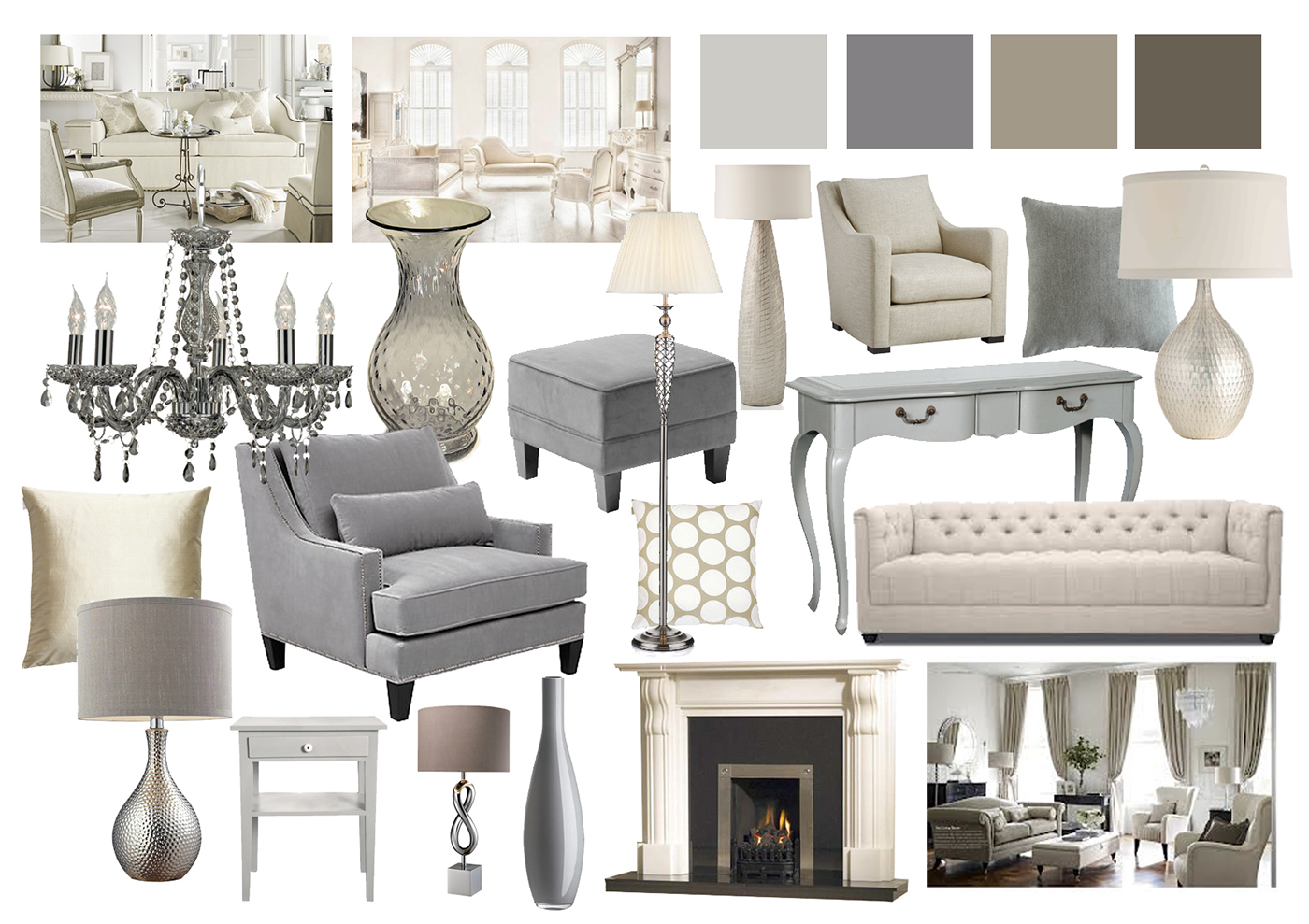 Grey Living Room Mood Board