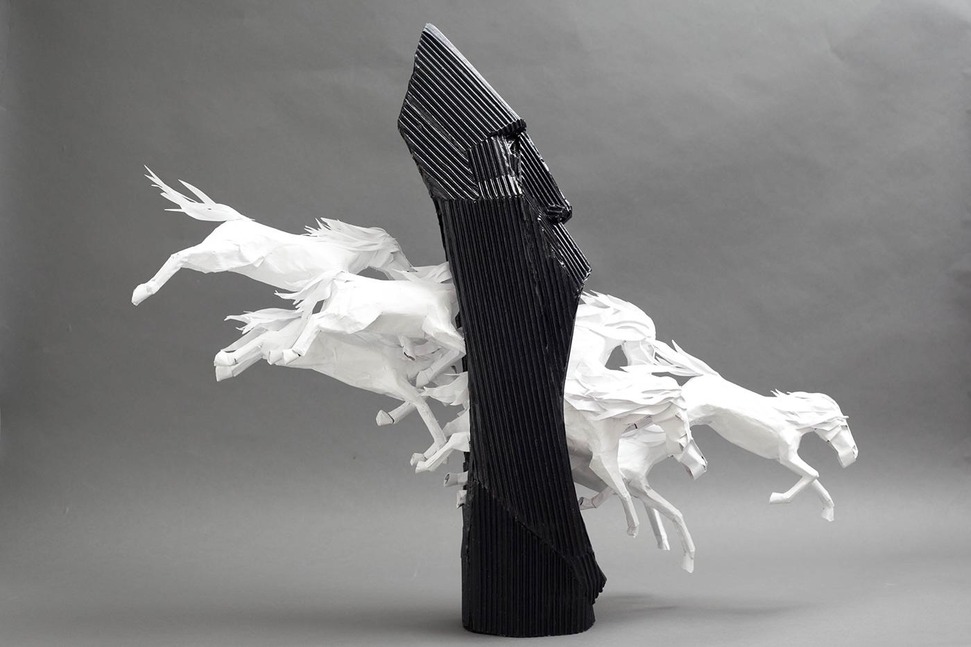 paper sculpture origami  paper art tribal surrealism