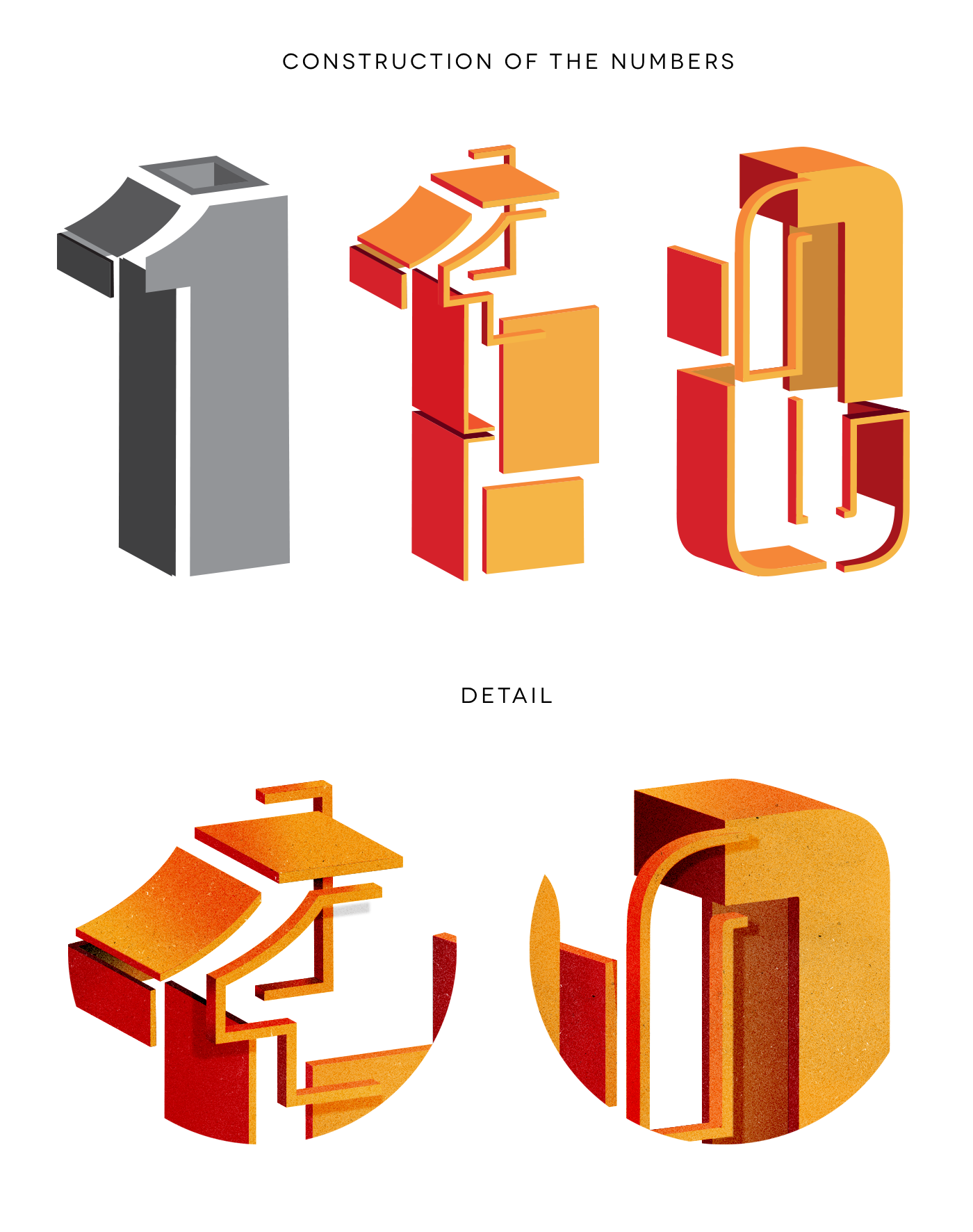 number lettering Calligraphy   magazine texture 3D Isometric