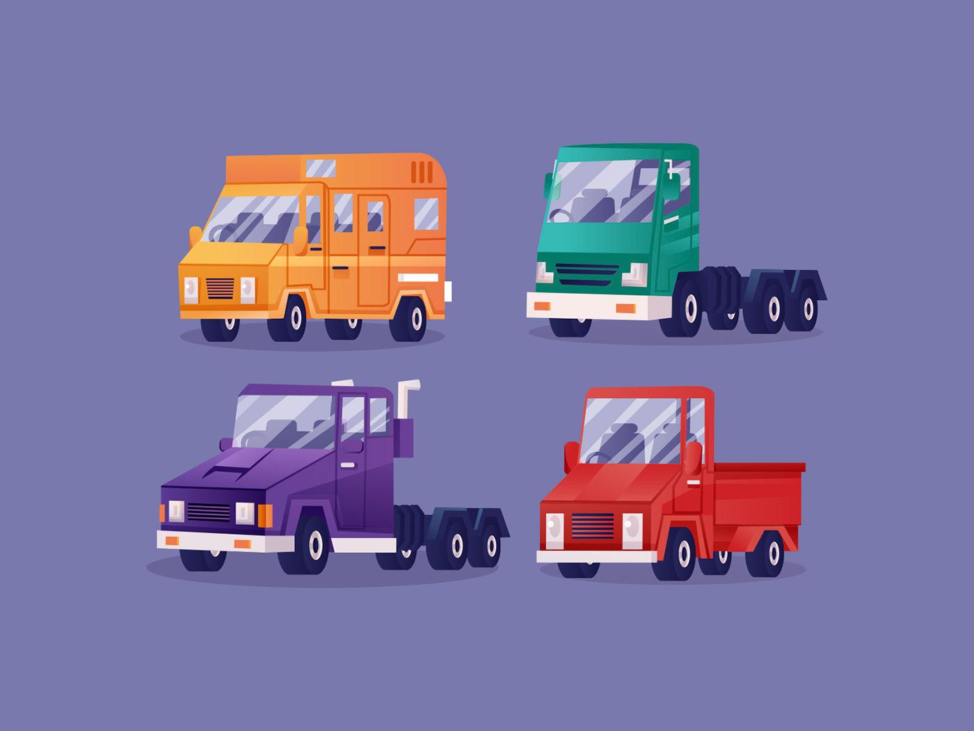 Character freebie ILLUSTRATION  Illustrator loading vehicle vector vector design vector download Vector Illustration vehicle illustration