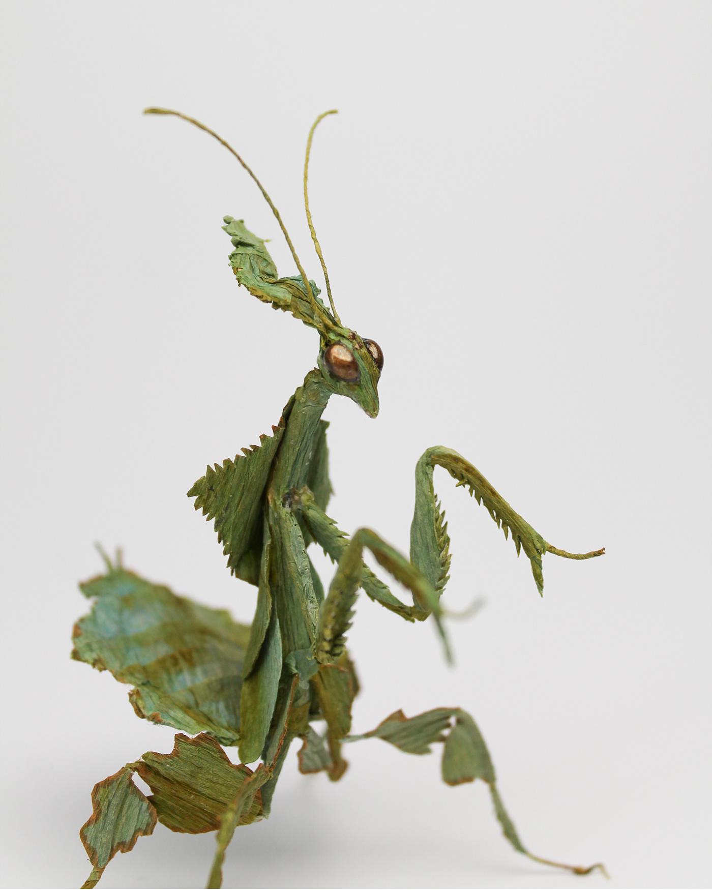 craft ghost mantis handcrafted mantis paper art paper artwork paper insect paper sculpture sculpture