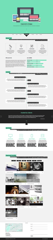 clean onepage template Website flat portfolio showcase company Minimalism