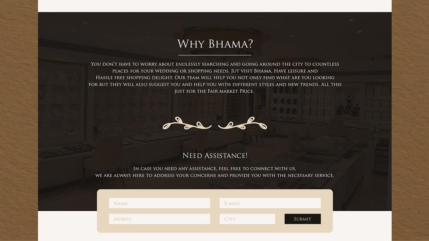 Bridal design Bridal Store bridal website classic website fashion design landing page UI ux Website Bhama Emporio