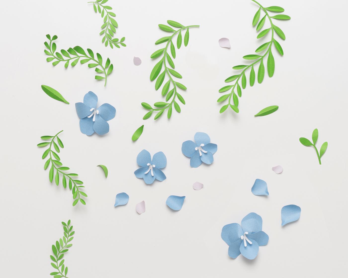 paper ILLUSTRATION  flower craft paper craft poster graphic design