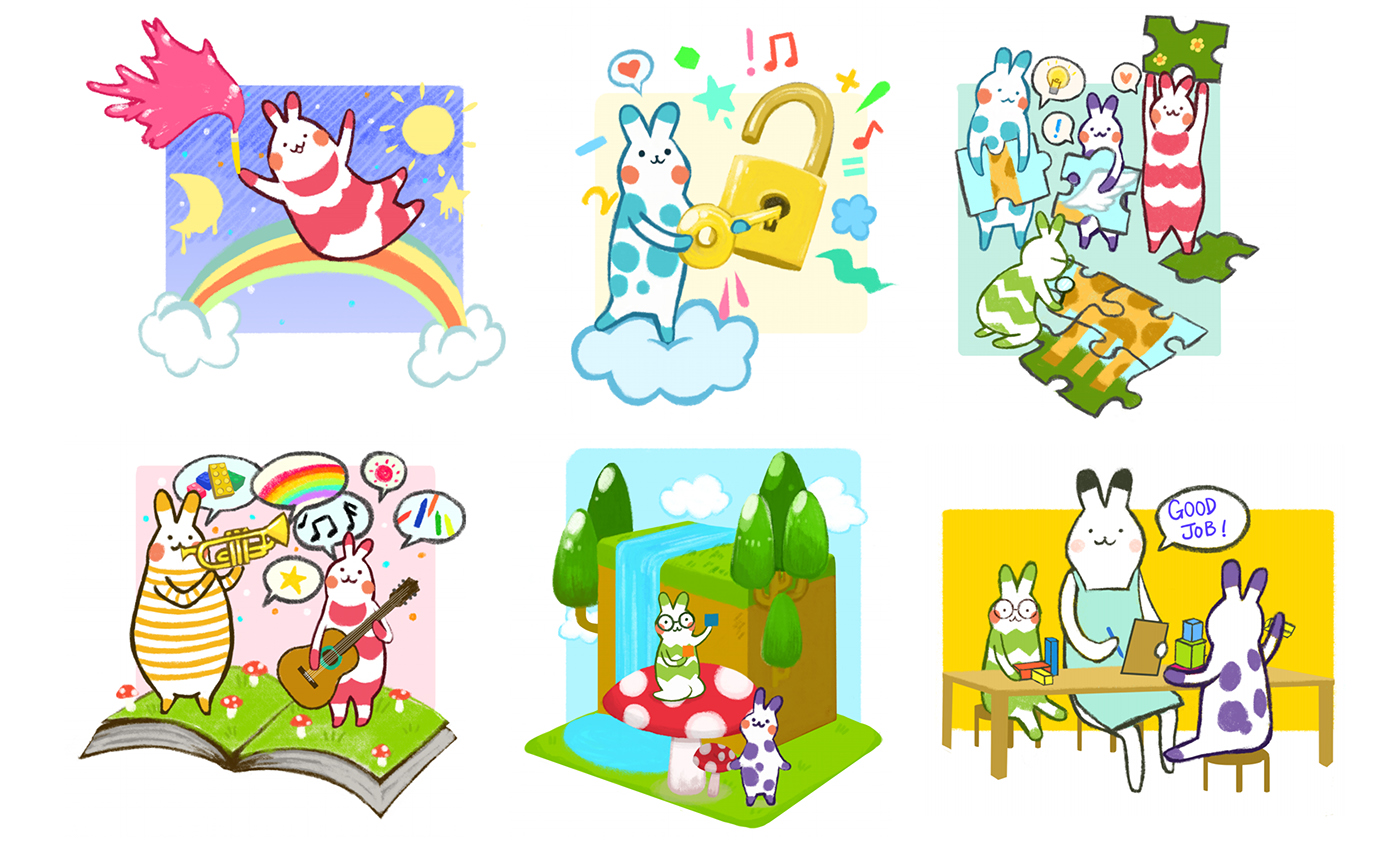 branding  ILLUSTRATION  art direction  vinyl Wall Mural posters logo frosted glass watercolour bunnies
