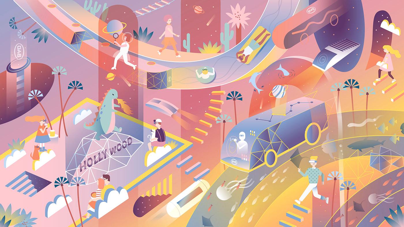 la future city electric bus future city wonderland Los Angeles travel time space ILLUSTRATION  vector art