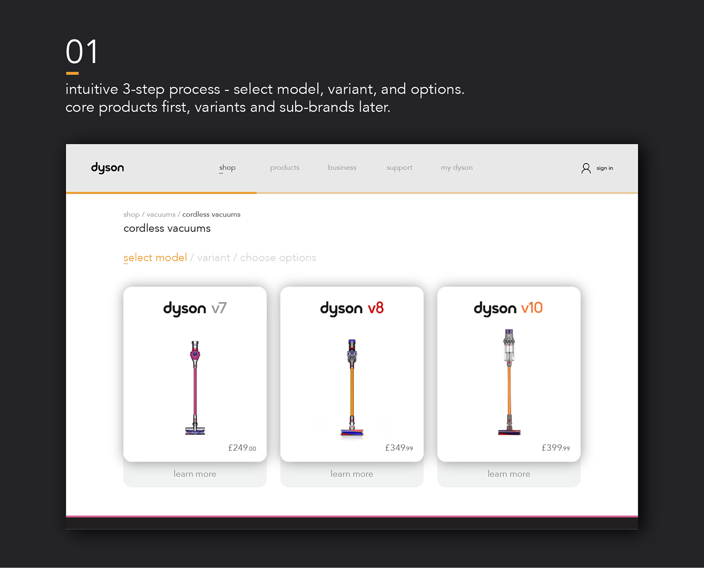 Responsive Dyson vacuum Website Ecommerce Shopping digital simplified Interaction design  UI