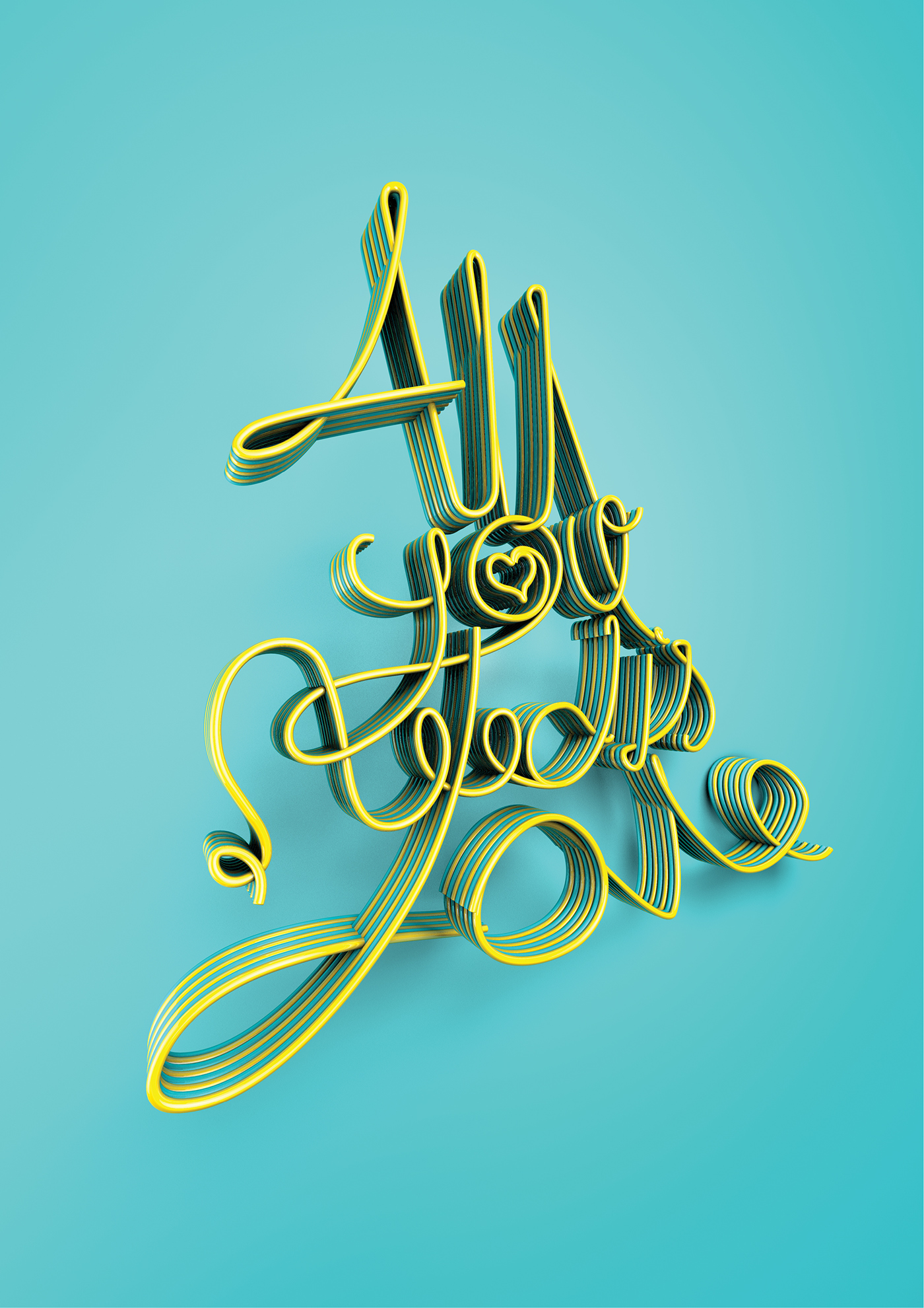 Love type letters flowing text Beatles hand written colour