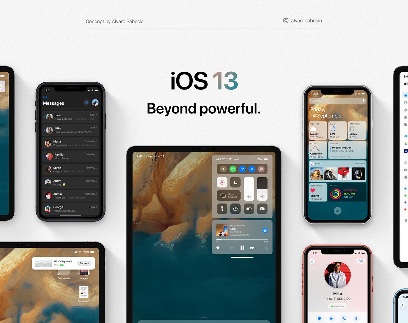 ios ios 13 iPad iphone concept UI/UX UI design apple macos