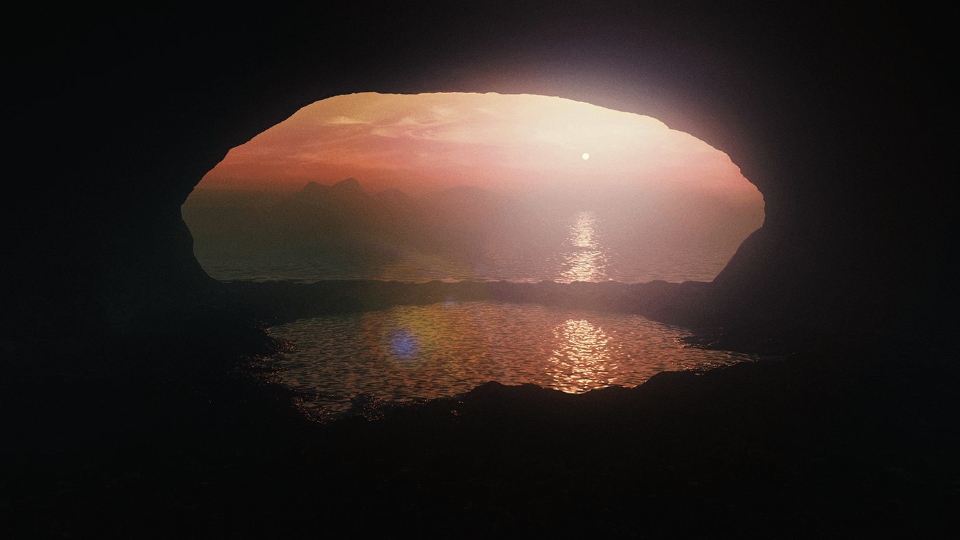 Procedural,texture,generation,sunset,water,node,3D