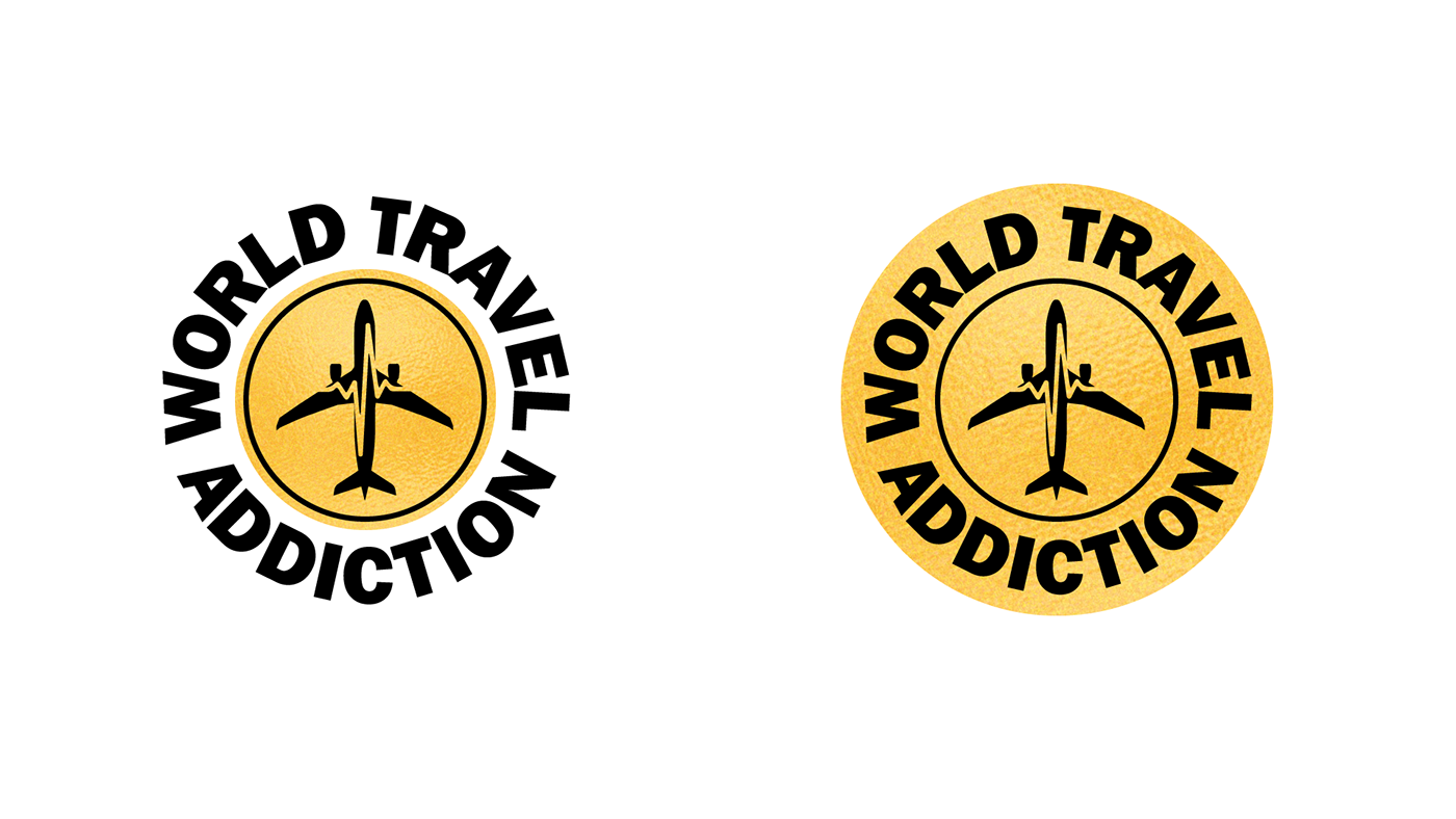 addiction brand gold logo medallion plane souvenir token Travel world