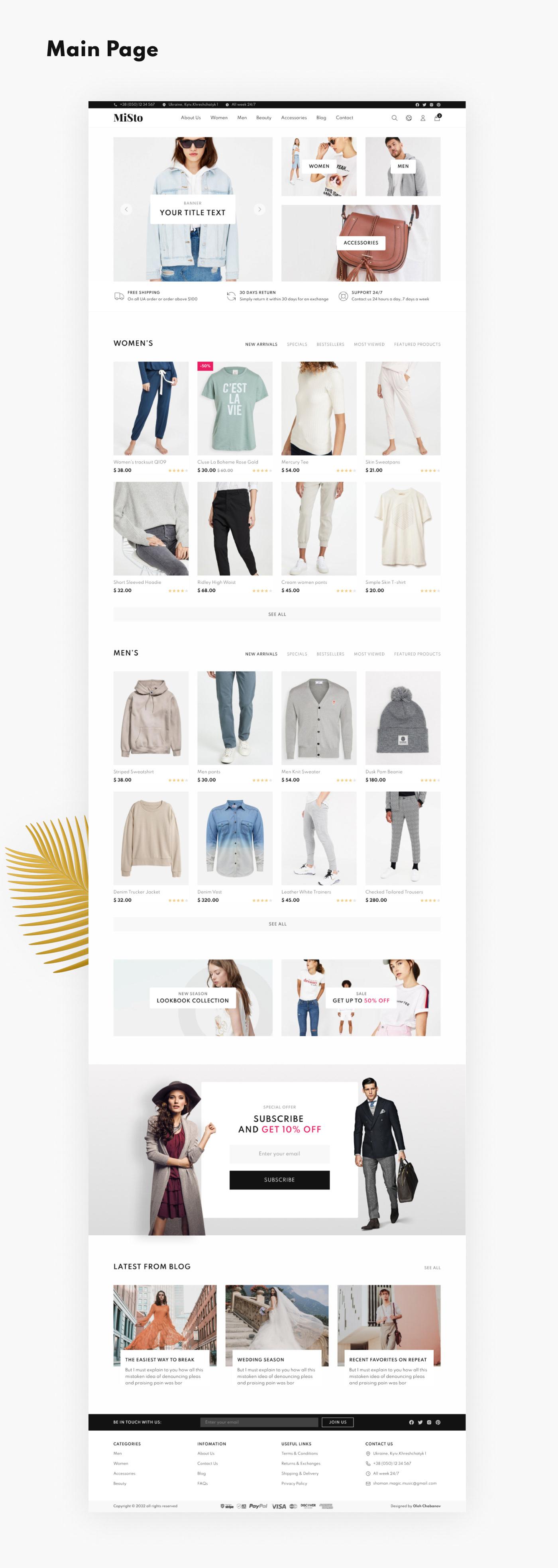 Free, E-commerce, Template, Store, Shop, UI, UX, Clean, Minimalist Web Design