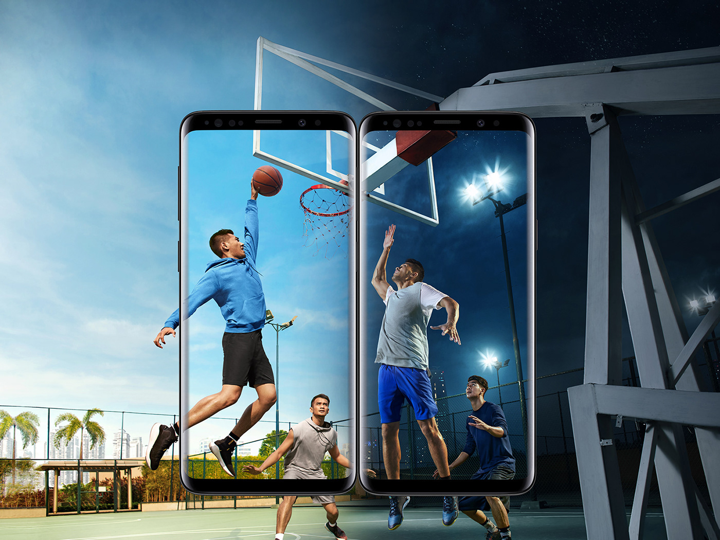 Image may contain: sky, outdoor and basketball