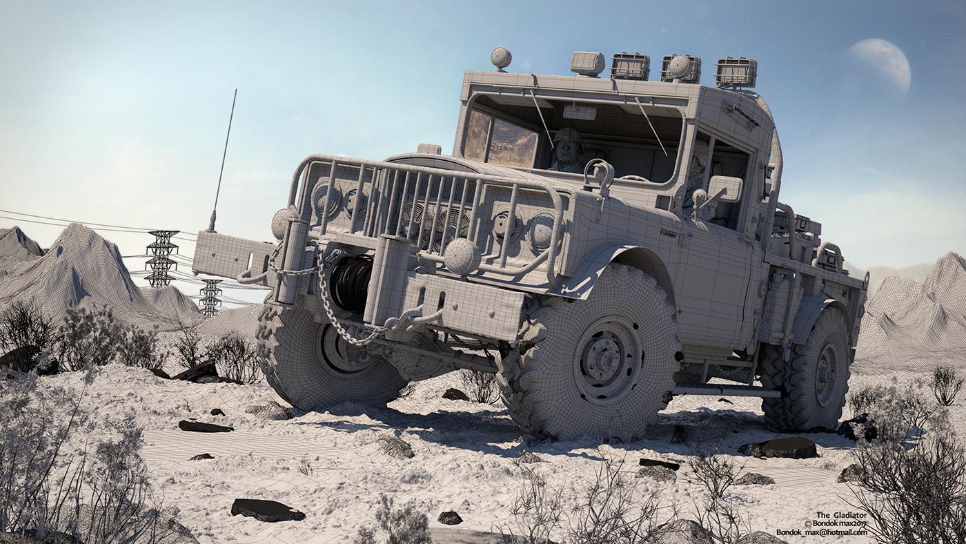 car jeep Gladiator 3dmax CGI monster creative Picture masterpiece 3dart