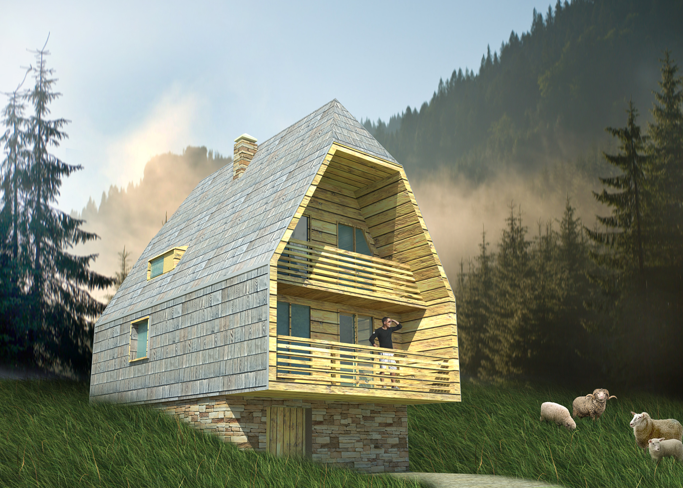 Me avnik mountain house on behance - Mountain house projects ...