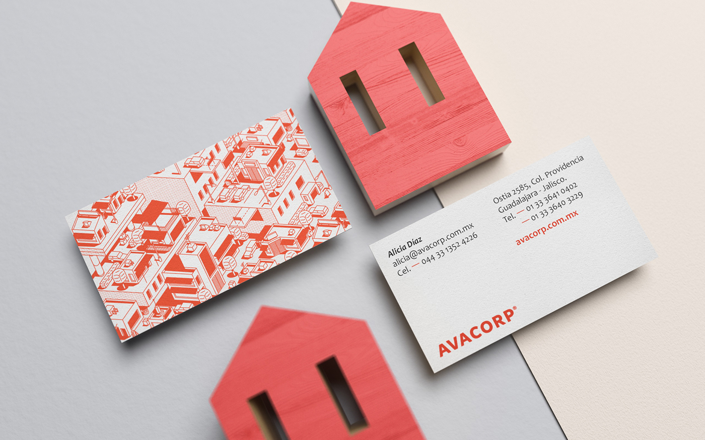 real estate house ILLUSTRATION  Isometric architecture branding  Stationery menta picante