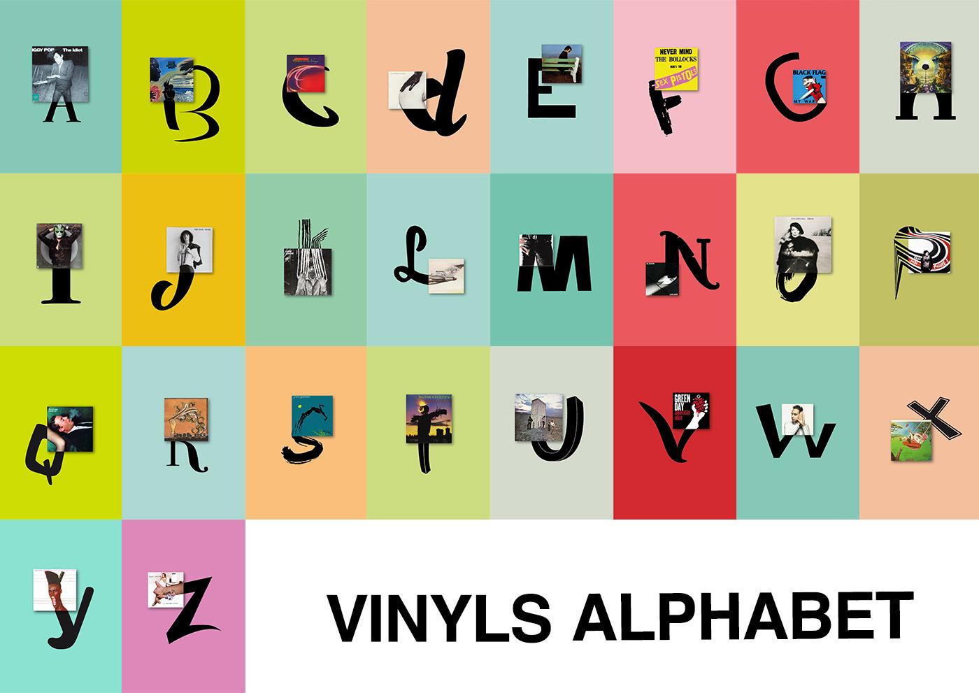 cover vinyl alphabet letters Icon musica singers type