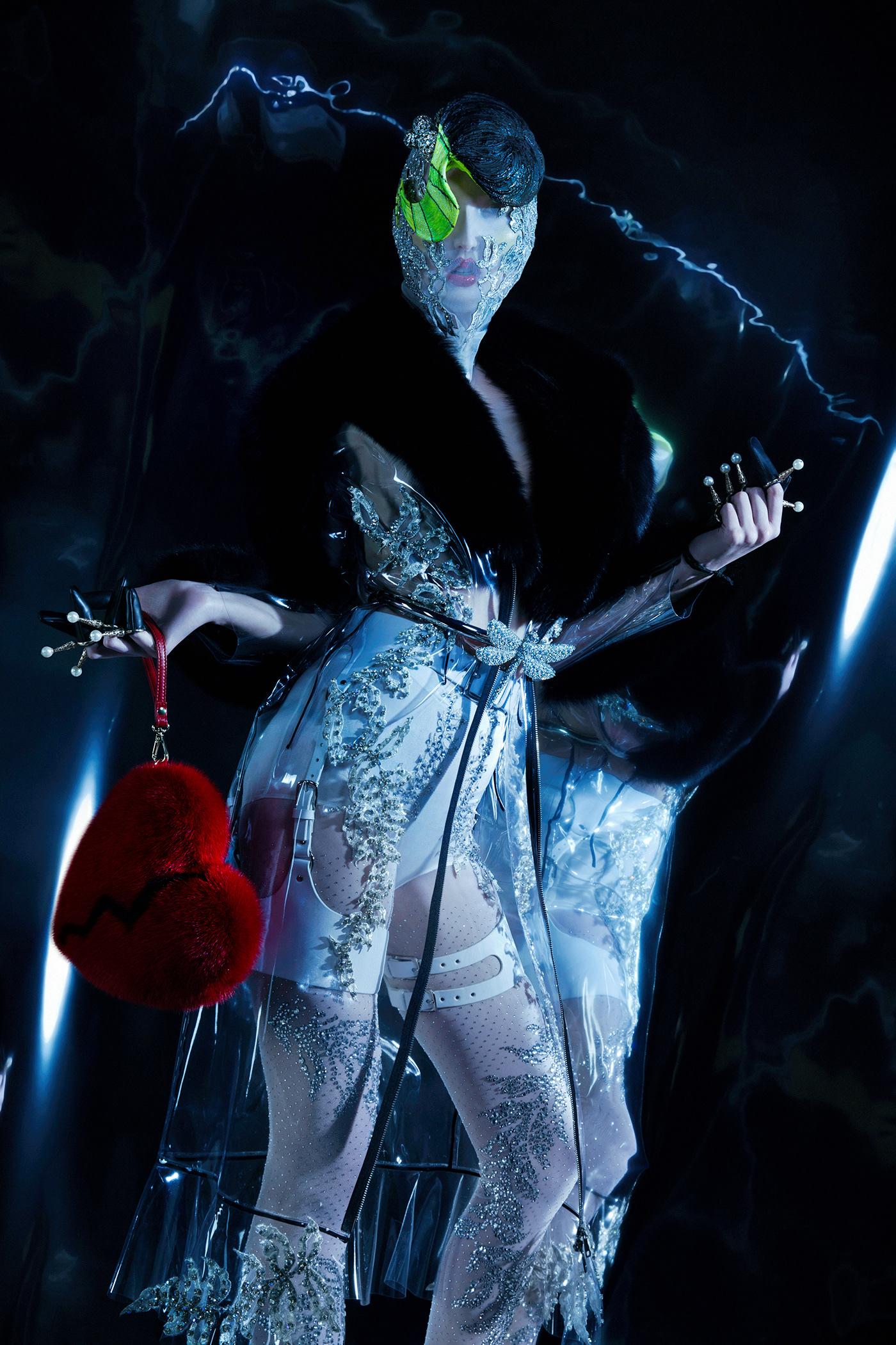 alien paper magazine avantgarde blind Alien Face bold latex Fashion  Space
