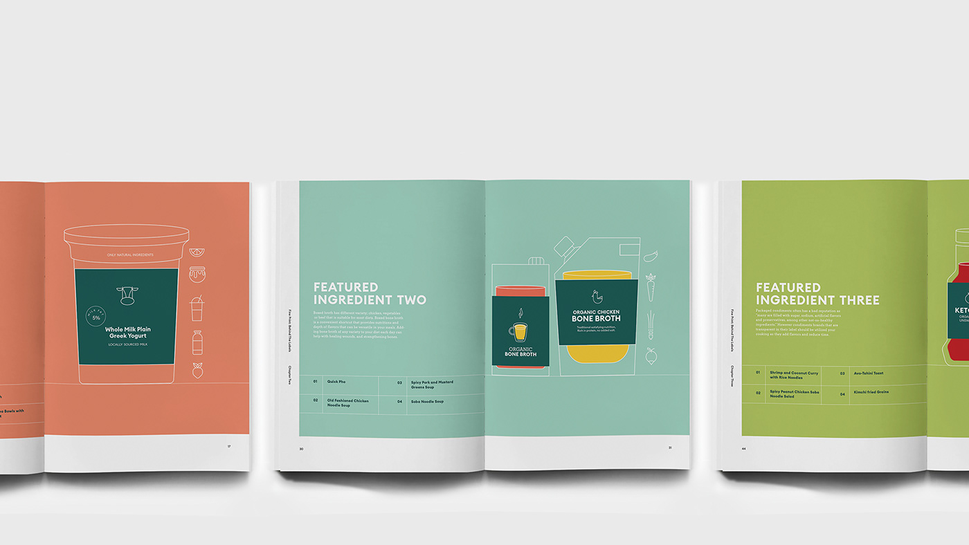 cookbook Cookbook Design graphic design  grids icons illustrations khahankellyle labels nutrition typography