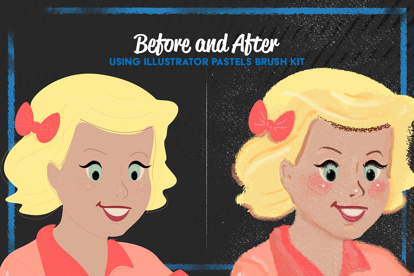 Pastels Illustrator Brush Kit On Behance