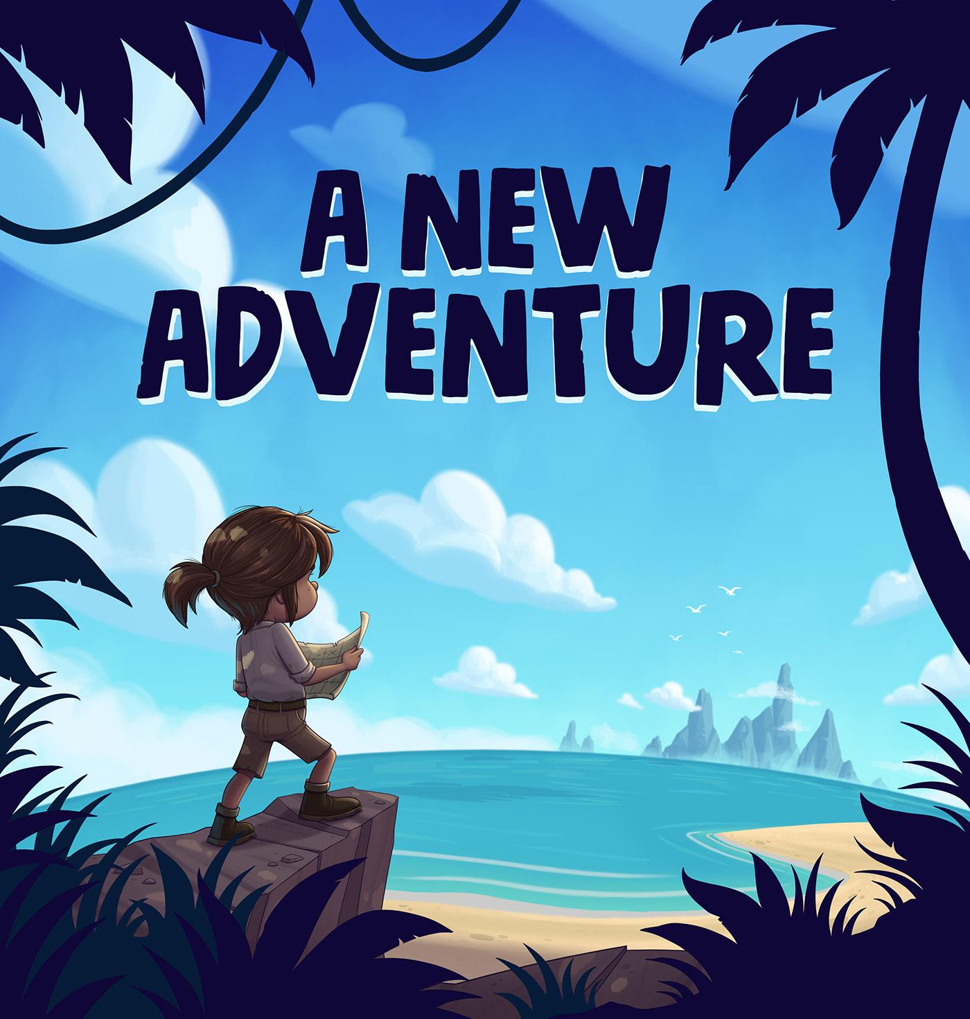 adventure ILLUSTRATION  Character design  adventurer Landscape treasure map Story Book Island sea beach