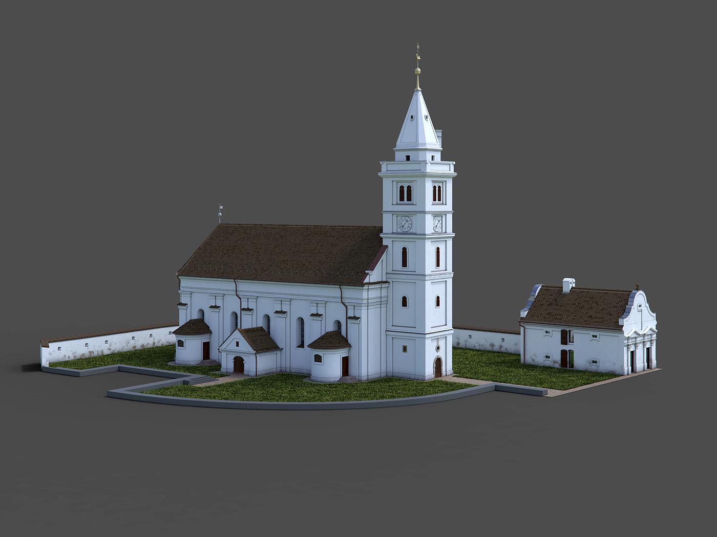 3D CG CGI Render church animation  reconstruction building