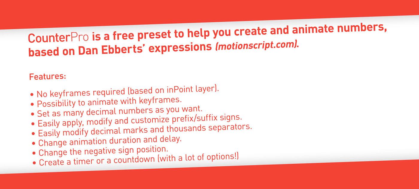 adobe after effects Script Preset free Expression counterpro plugin