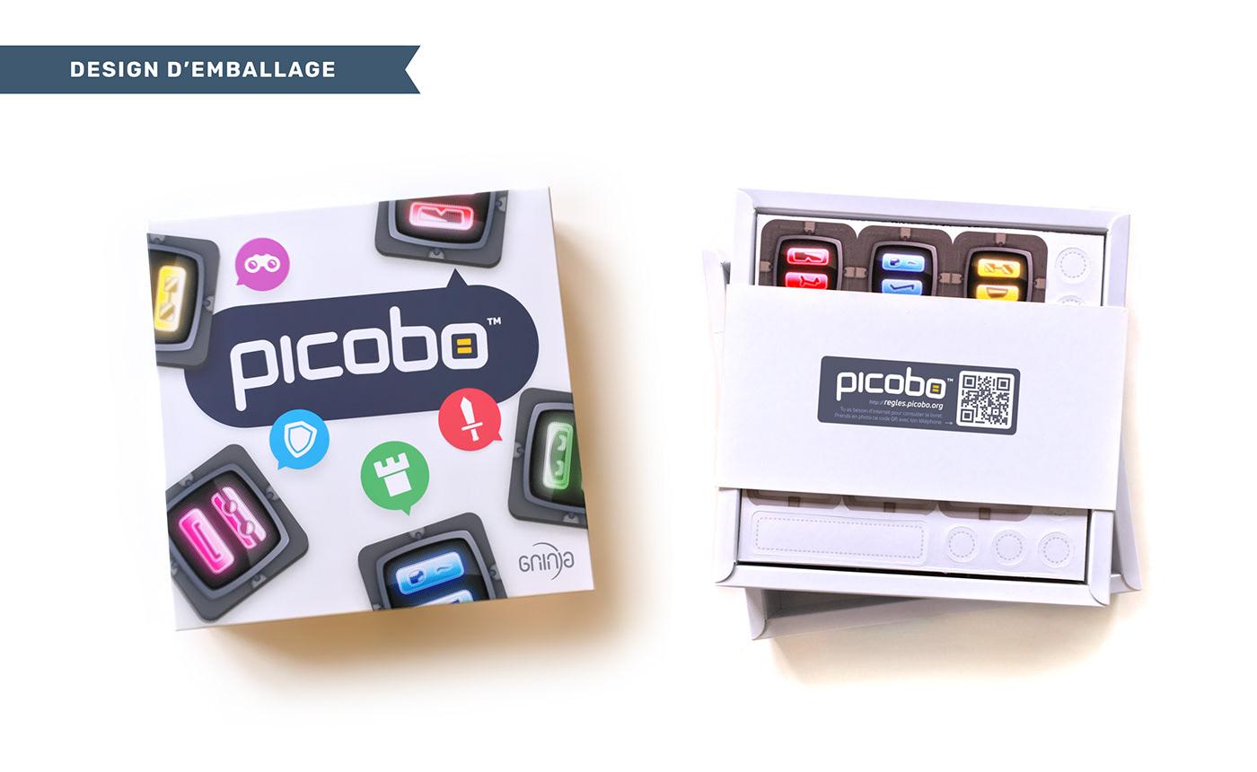 Boîte extérieure et intérieure du jeu de société Picobo.