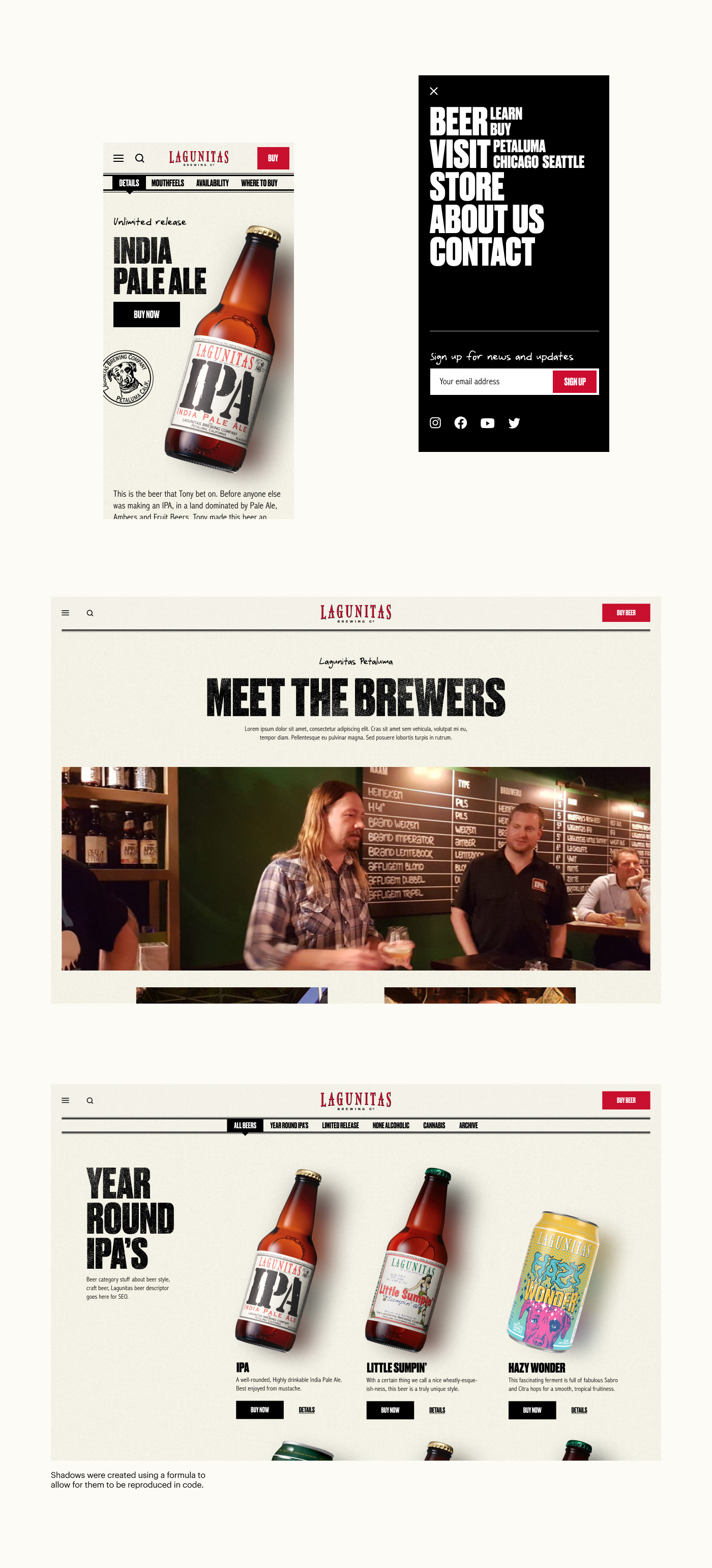 A beer detail page with info designed for mobile. Below an about page with a photo of a brewmaster.
