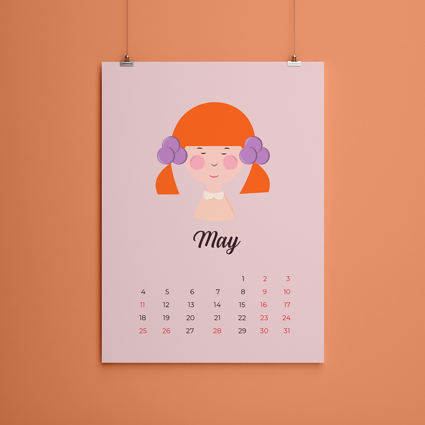 CALENDAR 2020 calendar design cartoon Character design  ILLUSTRATION  redhead girl