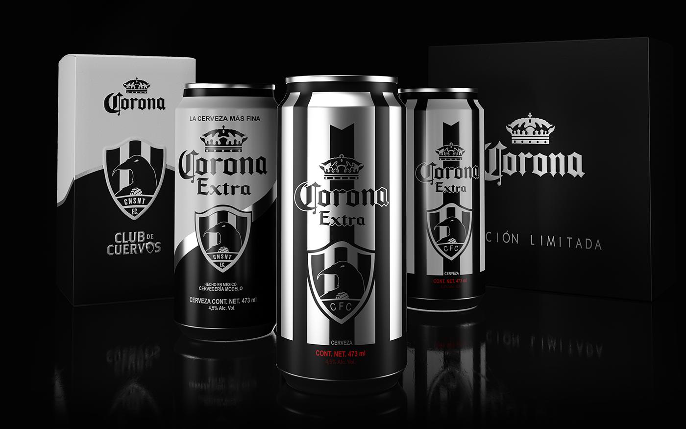3D CGI ad campaign beer soccer football can corona cuervos