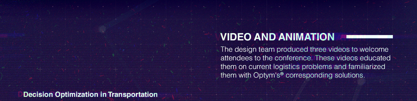 video conference branding  optym animation  Tron miami Web neon c4d