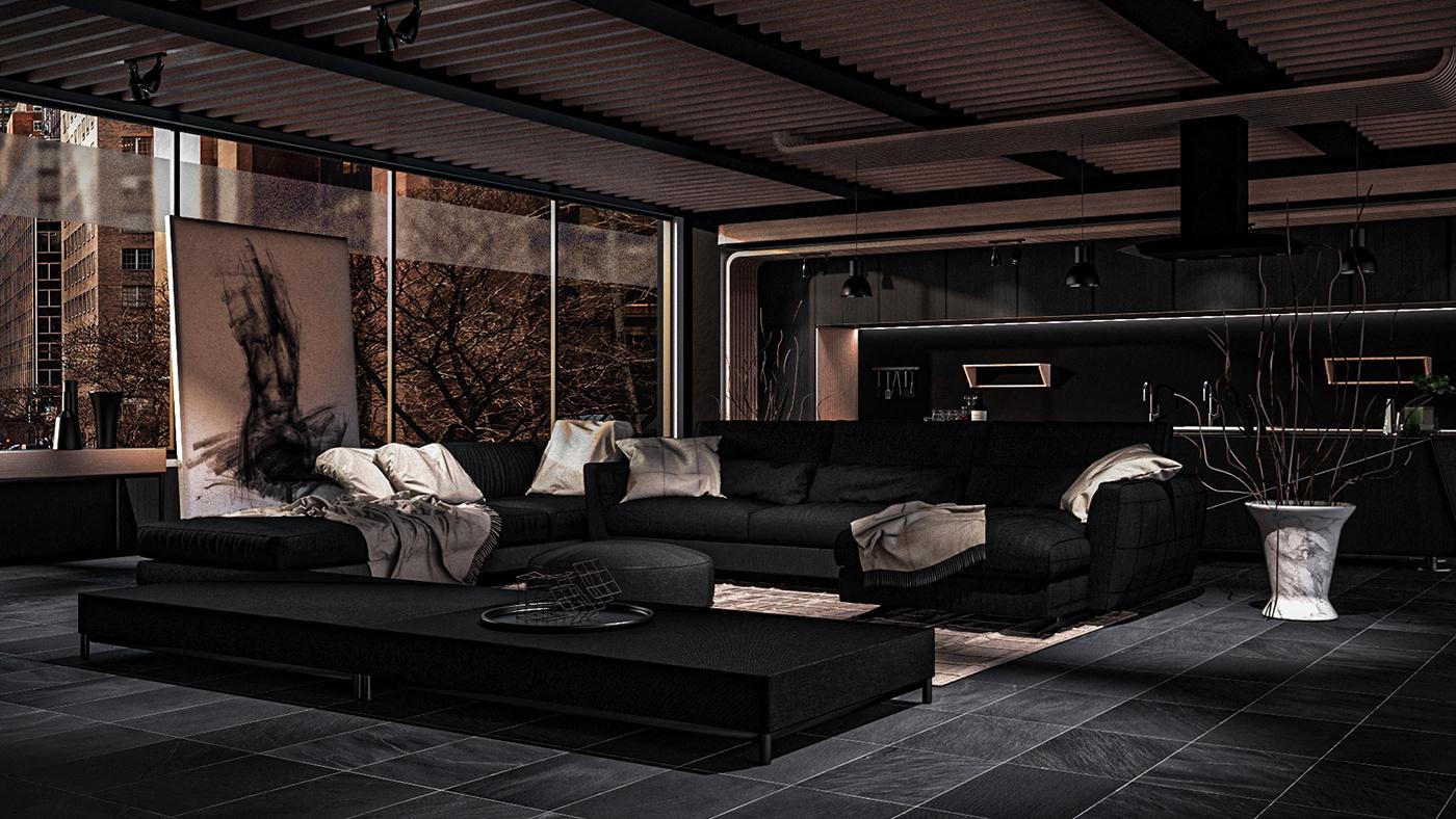 3D architecture archviz cinema 4d interior design  photoshop Render VentaHQ visualisation vray