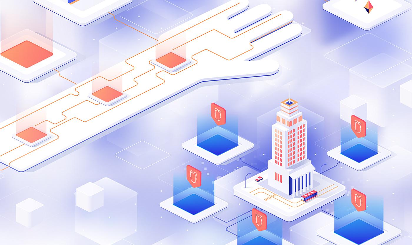 blockchain cryptocurrency animation  explainer biometrics video ILLUSTRATION  motion design Data isometry