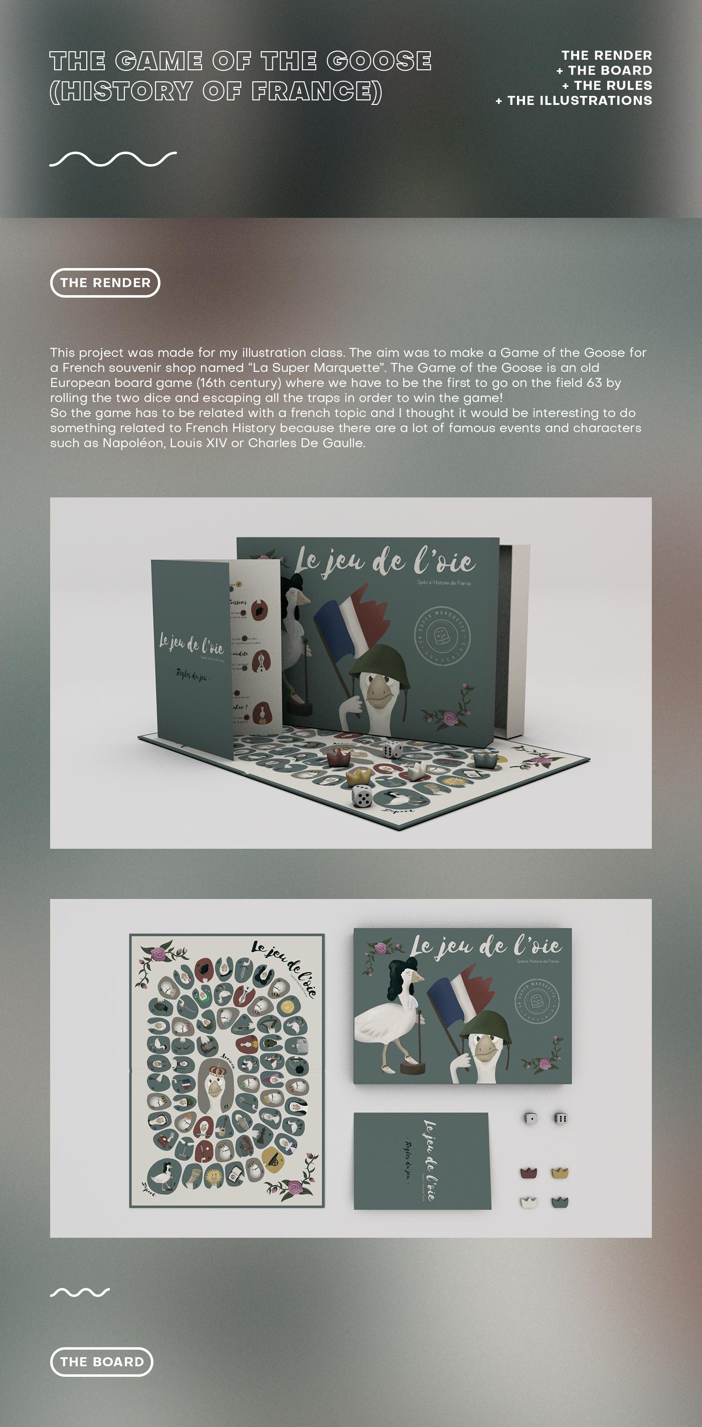 game Gameboard Board ILLUSTRATION  Goose king French history 3D design