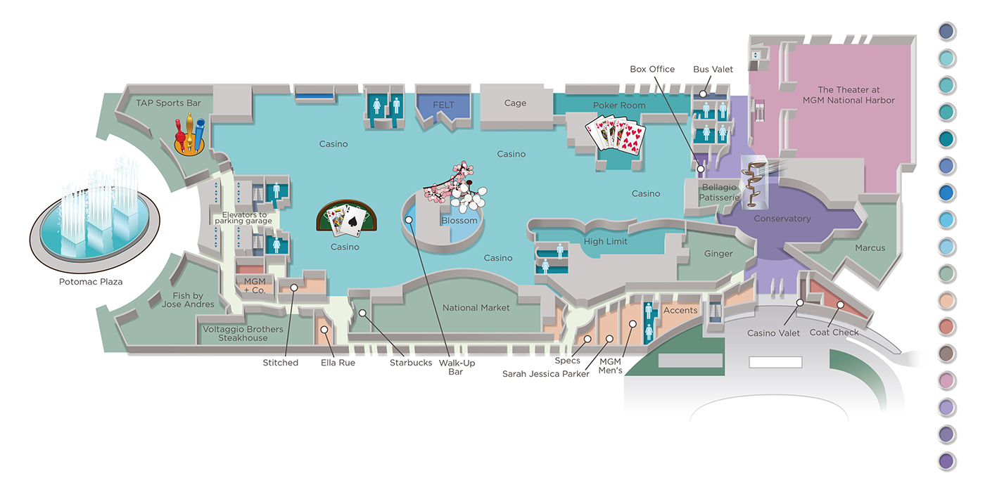 national harbor casino property guide map on behance