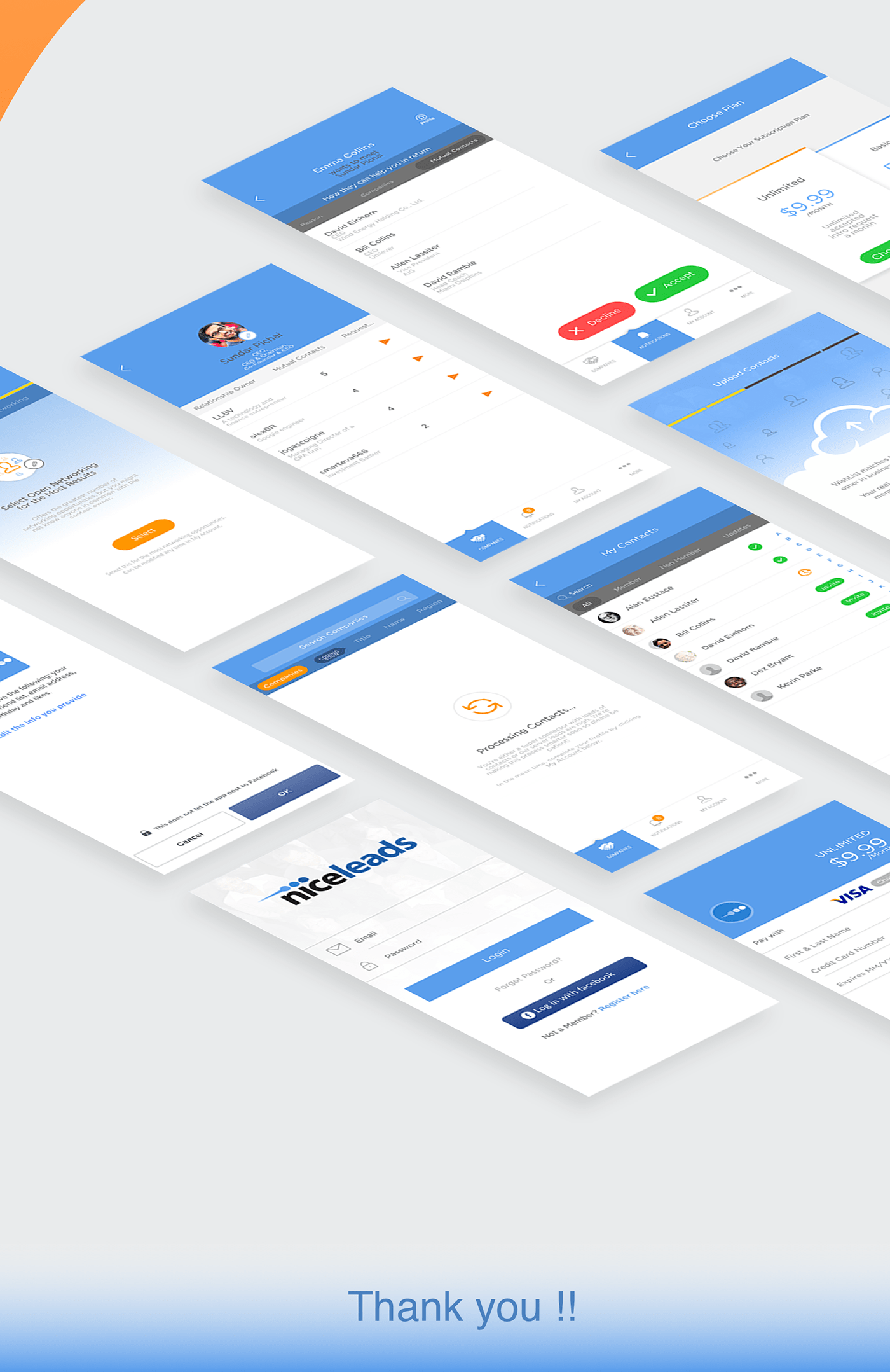 corporate UI ios Appdesign networking people
