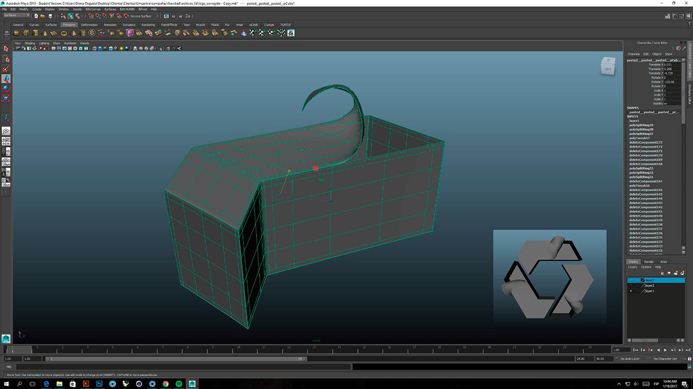 3D modeling model unicentro navidad