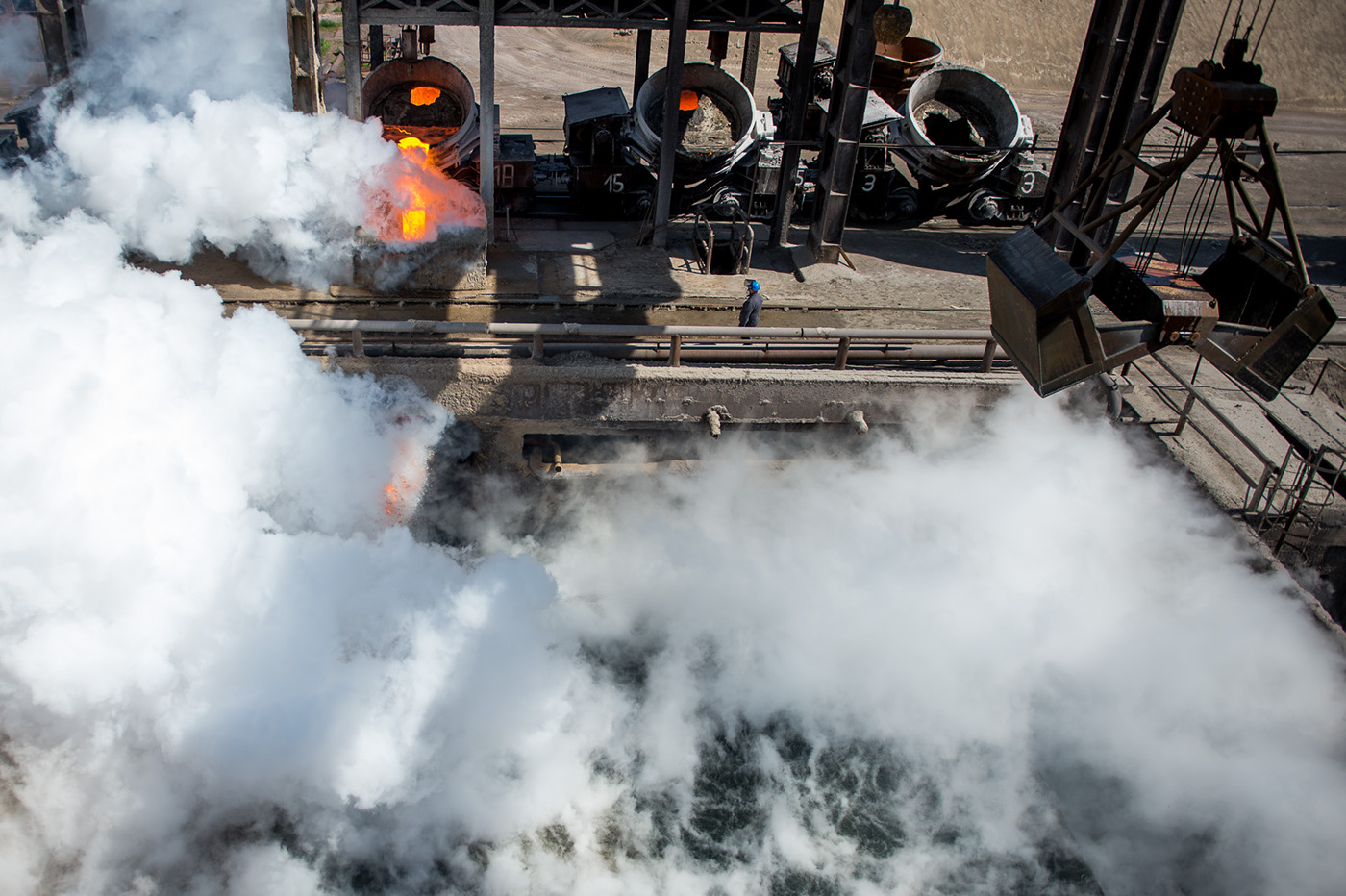 Documentary  Ironworks iron slag Steam Melt industrial
